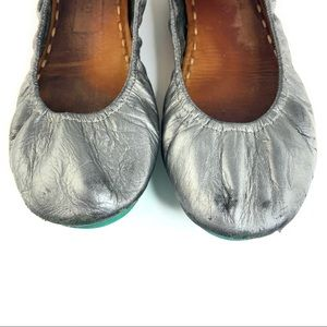 Tieks Metallic Pewter Flats As Is